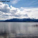 Blick auf die Chiemgauer Berge von Pauls Ruh auf der Herreninsel