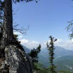 Oben auf dem Gipfelgrat – Blick ins Tal